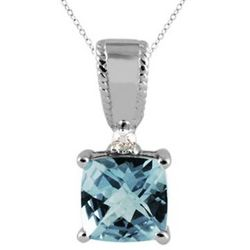 Aquamarine and Diamond Pendant 10K White Gold