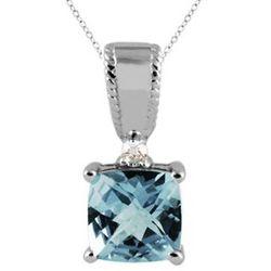 Aquamarine and Diamond Pendant 10K White Gold