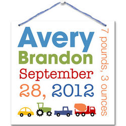 Baby Boy Personalized Announcing Me Art Board