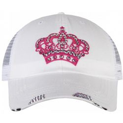 White Trucker Hat with Pink Crown
