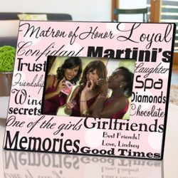 Personalized Pink Dots Matron of Honor Picture Frame