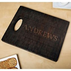 Classic Cut 18x14 Black Bamboo Personalized Cutting Board
