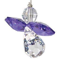 Crystal Guardian Angel Ornament with Amethyst-Colored Wings