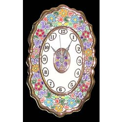 Handmade Traditional Spanish Gilt-Edged Ceramic Clock