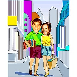 Your Photo in a Shopping Together Caricature