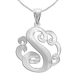 Personalized Stunning Single Initial Pendant in Sterling Silver