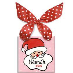 Personalized Girl's Pink Santa Ornament Tile