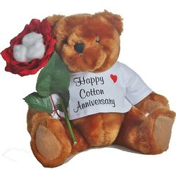 2nd Anniversary Teddy Bear with Cotton Roses