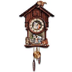 Moments of Purr-fection Kitten Art Wooden Cuckoo Clock
