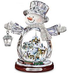Thomas Kinkade Crystal Snowman Figurine
