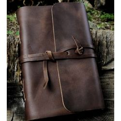 Classic Strap Travel Journal in Brown or Black