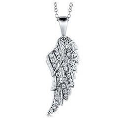 Sterling Silver Angel Wing Pendant Necklace in Cubic Zirconia