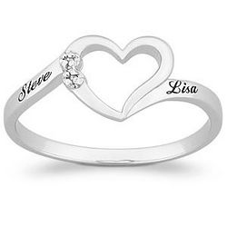 Platinum Plated Sterling Silver Diamond Name Promise Ring