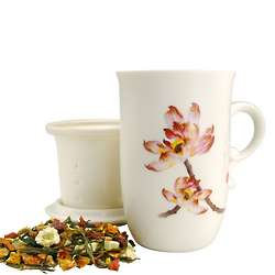 Embossed Lotus Tea Mug with Infuser