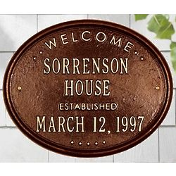 Personalized Welcome Established House Plaque