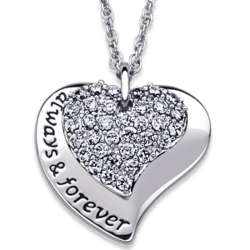 Platinum Plated Always and Forever CZ Double Heart Necklace