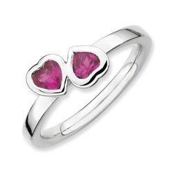 Sterling Silver Created Ruby Double Heart Ring
