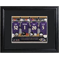 Baltimore Ravens Personalized Locker Room Print with Matted Frame