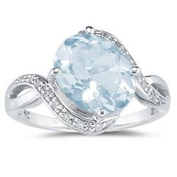 10K White Gold Oval Shaped Aquamarine and Diamond Curve Ring