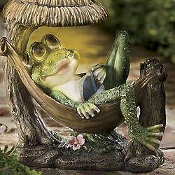 Solar Frog in Hammock Garden Figurine