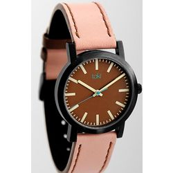 Brown and Pink Leather Watch