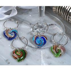 Murano Art Deco Collection Heart Design Wine Charms