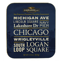 Chicago Neighborhoods Postcard Tin of Chocolates