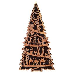 Olive Wood Nativity Tree Ornament