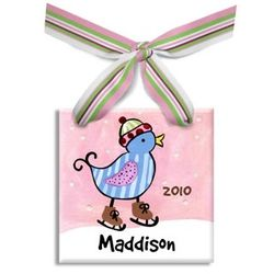 Personalized Blue Bird Christmas Ornament