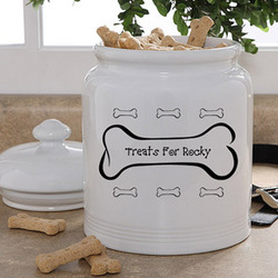 Dog Bone Personalized Dog Treats Jar
