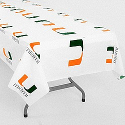 Miami Hurricanes White Team Logo Plastic Tablecover