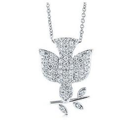 Sterling Silver Peace Dove Pendant Necklace in Cubic Zirconia