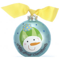 Frosty Blue Christmas Ornament