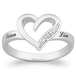 Platinum Plated Sterling Silver Diamond Heart Name Promise Ring