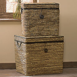 Set of 2 Rattan Trunks