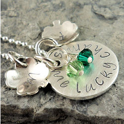 Lucky Charms Personalized Hand Stamped Necklace
