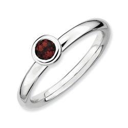 Sterling Silver Round Garnet Ring