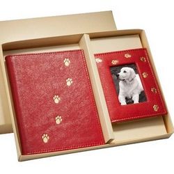 Paw Prints Leather Brag Book and Travel Frame Gift Set