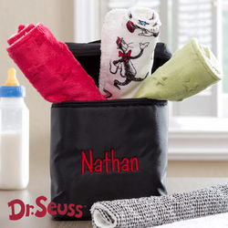 Dr. Seuss Burp Cloth Set with Embroidered Bottle Bag