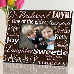 Personalized Pink and Brown Junior Bridesmaid Picture Frame