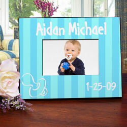New Baby Boy Pacifier Blue Personalized Printed Frame