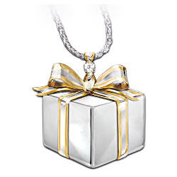 Gift of Love to Daughter Silver & Diamond Pendant Necklace
