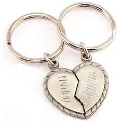 Engravable Split Heart Pewter Key Ring Set