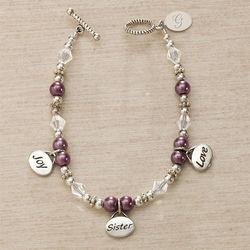 Personalized Joy, Sister, Love Charm Bracelet