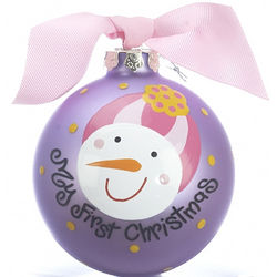Frosty Pink Christmas Ornament