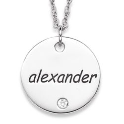 Name & Birthstone Sterling Silver Disc Necklace