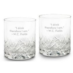Cut Crystal Double Old Fashioned Glass Set