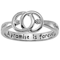 Platinum Plated Sterling Silver Couple's Diamond Name Ring