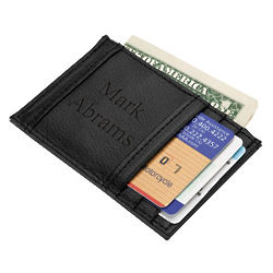 Personalized Slim Leather Credit Card Holder