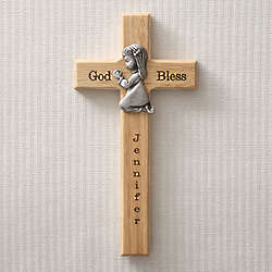Personalized Praying Girl Wood Cross